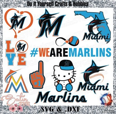 Florida Marlins Baseball Set Design SVG Files, Cricut, Silhouette Studio, Digital Cut Files