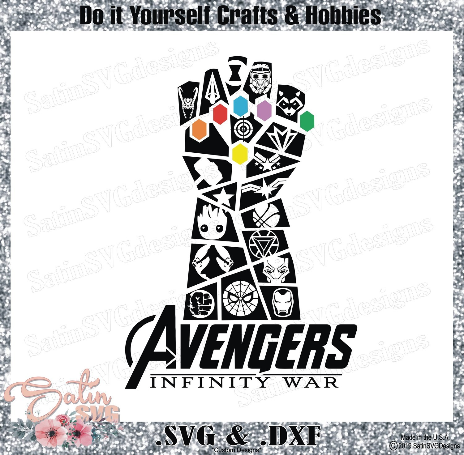 Avengers Infinity War End Game Thanos Glove Marvel Design SVG Files, Cricut, Silhouette Studio, Digital Cut Files