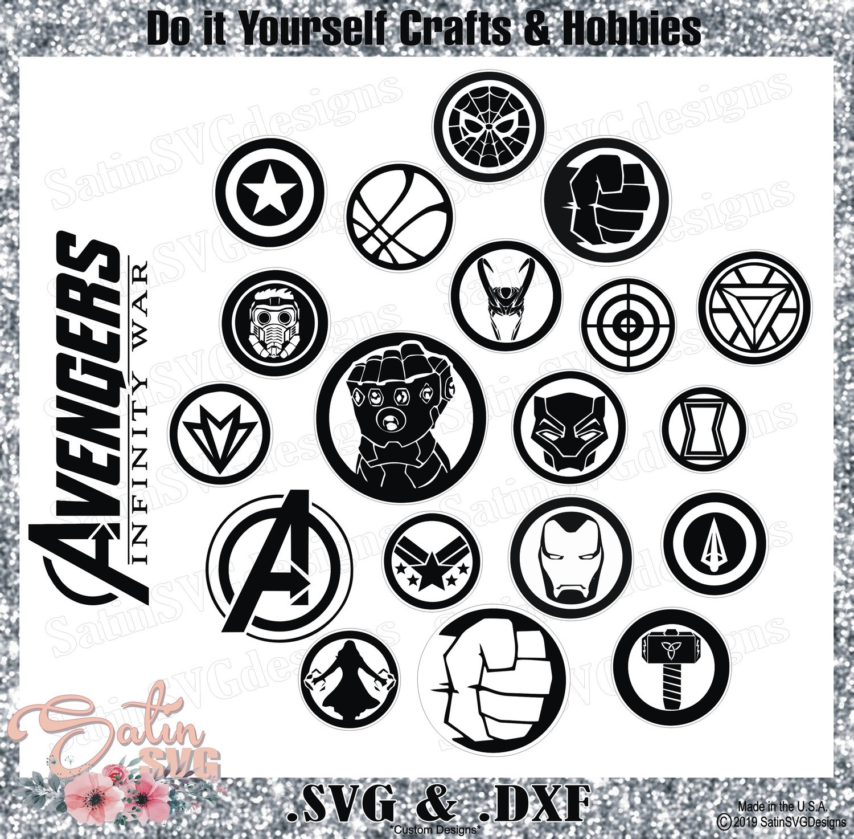 Avengers Infinity War End Game Icons Glove Marvel Design SVG Files, Cricut, Silhouette Studio, Digital Cut Files