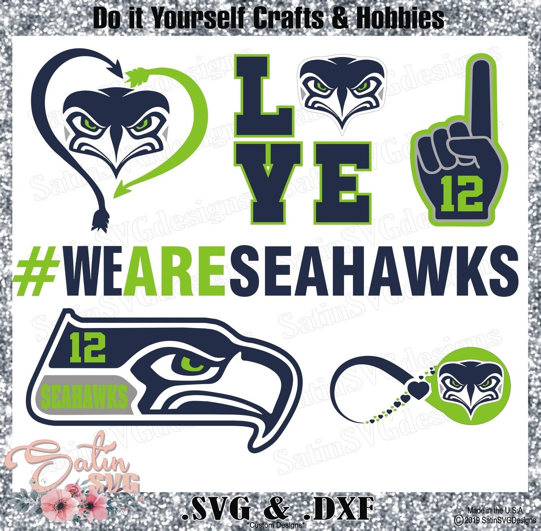 Seattle Seahawks SET1 Design SVG Files, Cricut, Silhouette Studio, Digital Cut Files
