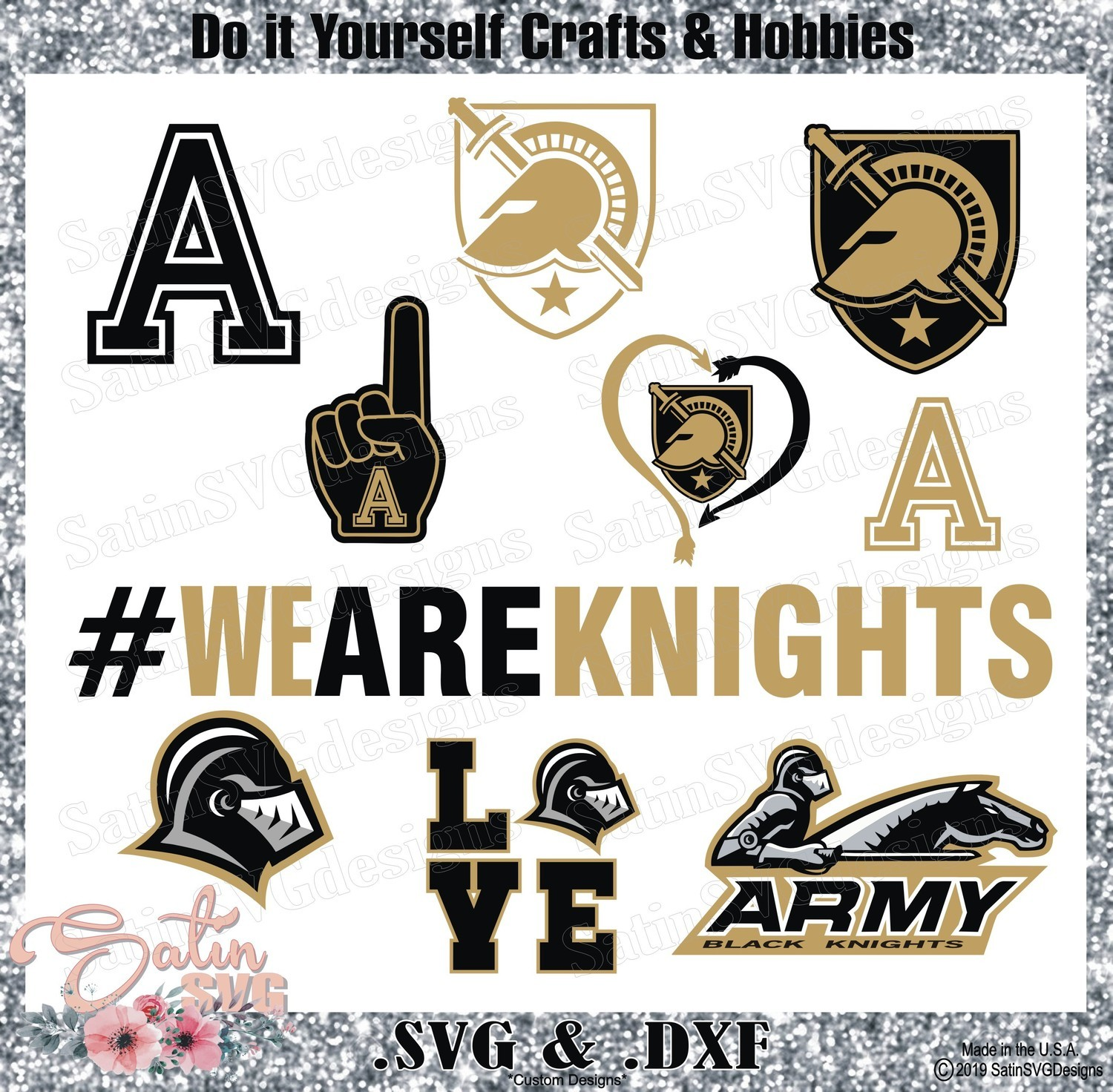 Army Black Knights Set Design SVG Files, Cricut, Silhouette Studio, Digital Cut Files