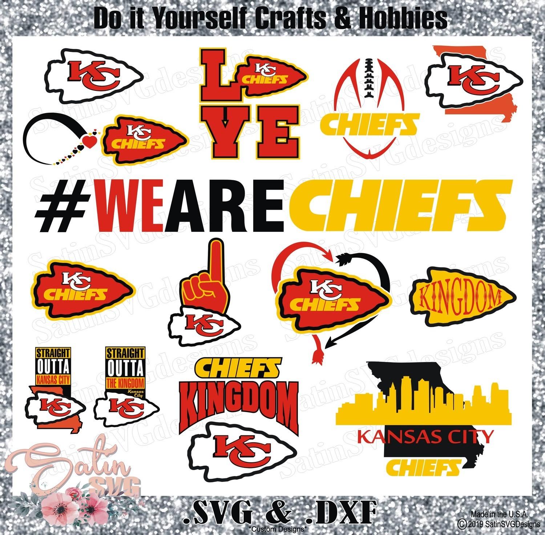 Kansas City Chiefs Set Design SVG Files, Cricut, Silhouette Studio, Digital Cut Files