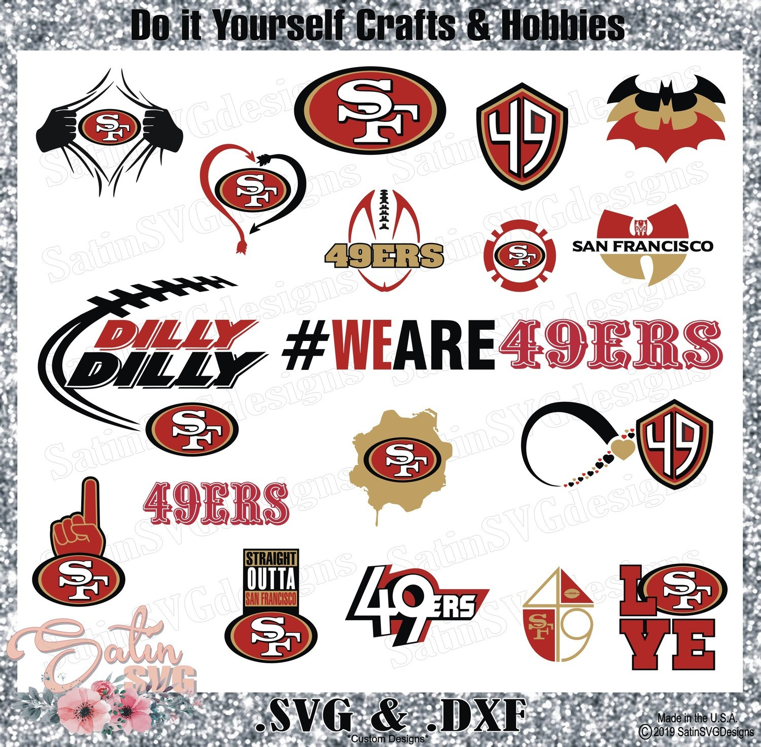 San Francisco 49ers Set Design Svg Files Cricut Silhouette Studio Digital Cut Files