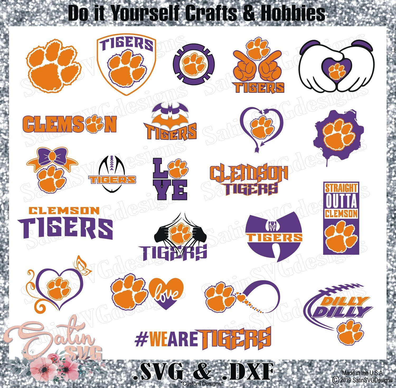 Clemson Tigers Set Design SVG Files, Cricut, Silhouette Studio, Digital Cut Files