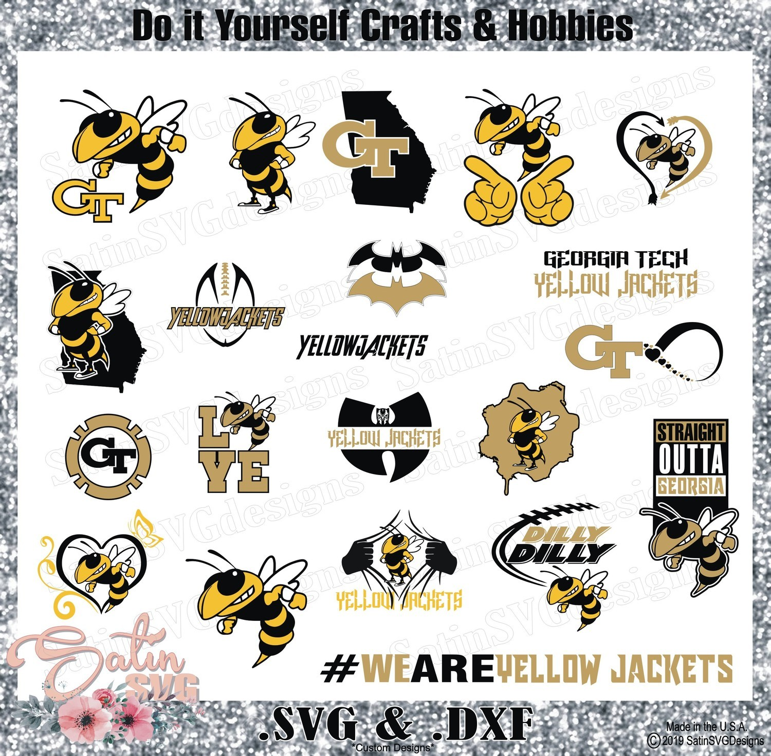 Georgia Tech Yellow Jackets SET College Design SVG Files, Cricut, Silhouette Studio, Digital Cut Files