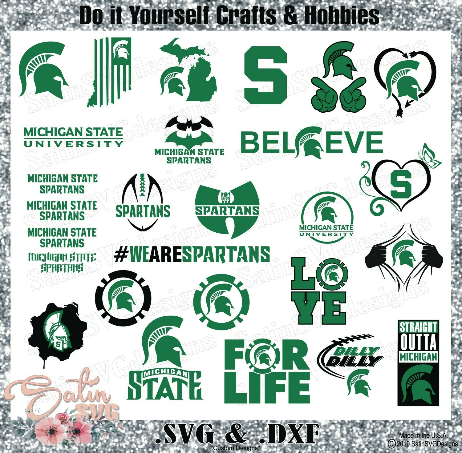 Michigan State Spartan Set Design SVG Files, Cricut, Silhouette Studio, Digital Cut Files