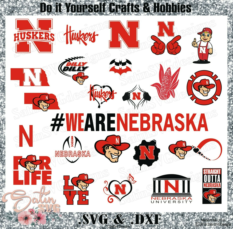 Nebraska Cornhuskers SET Design SVG Files, Cricut, Silhouette Studio, Digital Cut Files