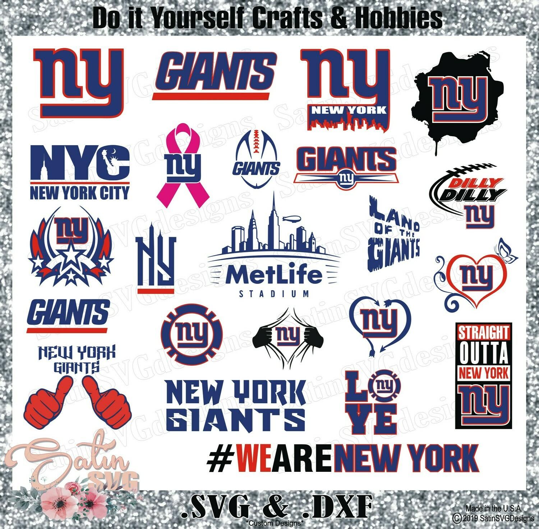 New York Giants Design Set SVG Files, NFL Football - Cricut, Silhouette Studio, Digital Cut Files