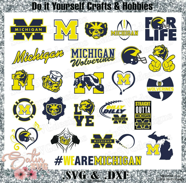 Michigan Wolverines Set NEW Design SVG Files, Cricut, Silhouette Studio, Digital Cut Files