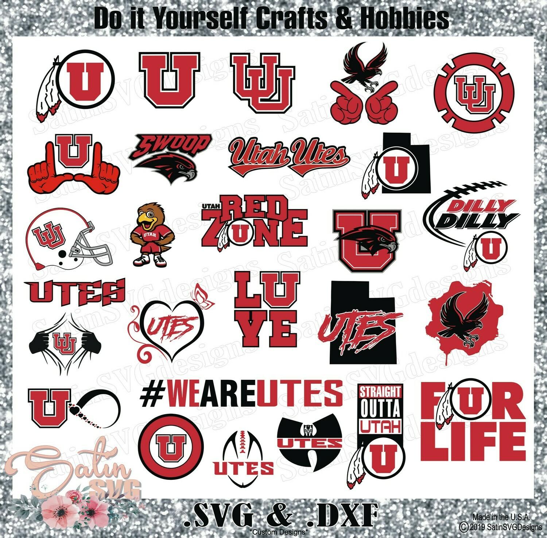 Utah Utes College Design SVG Files, Cricut, Silhouette Studio, Digital Cut Files