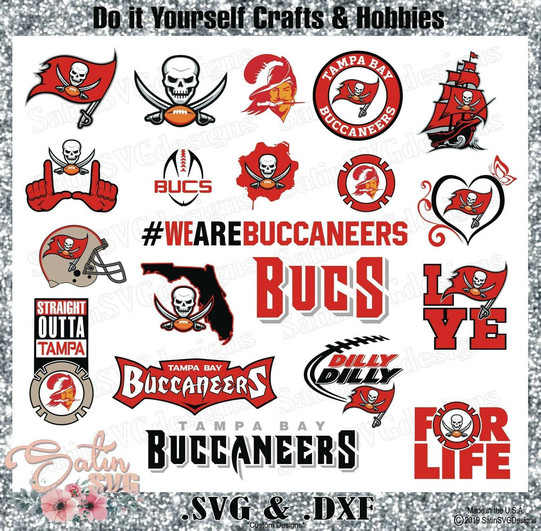 Tampa Bay Buccaneers Set NFL Design SVG Files, Cricut, Silhouette Studio, Digital Cut Files