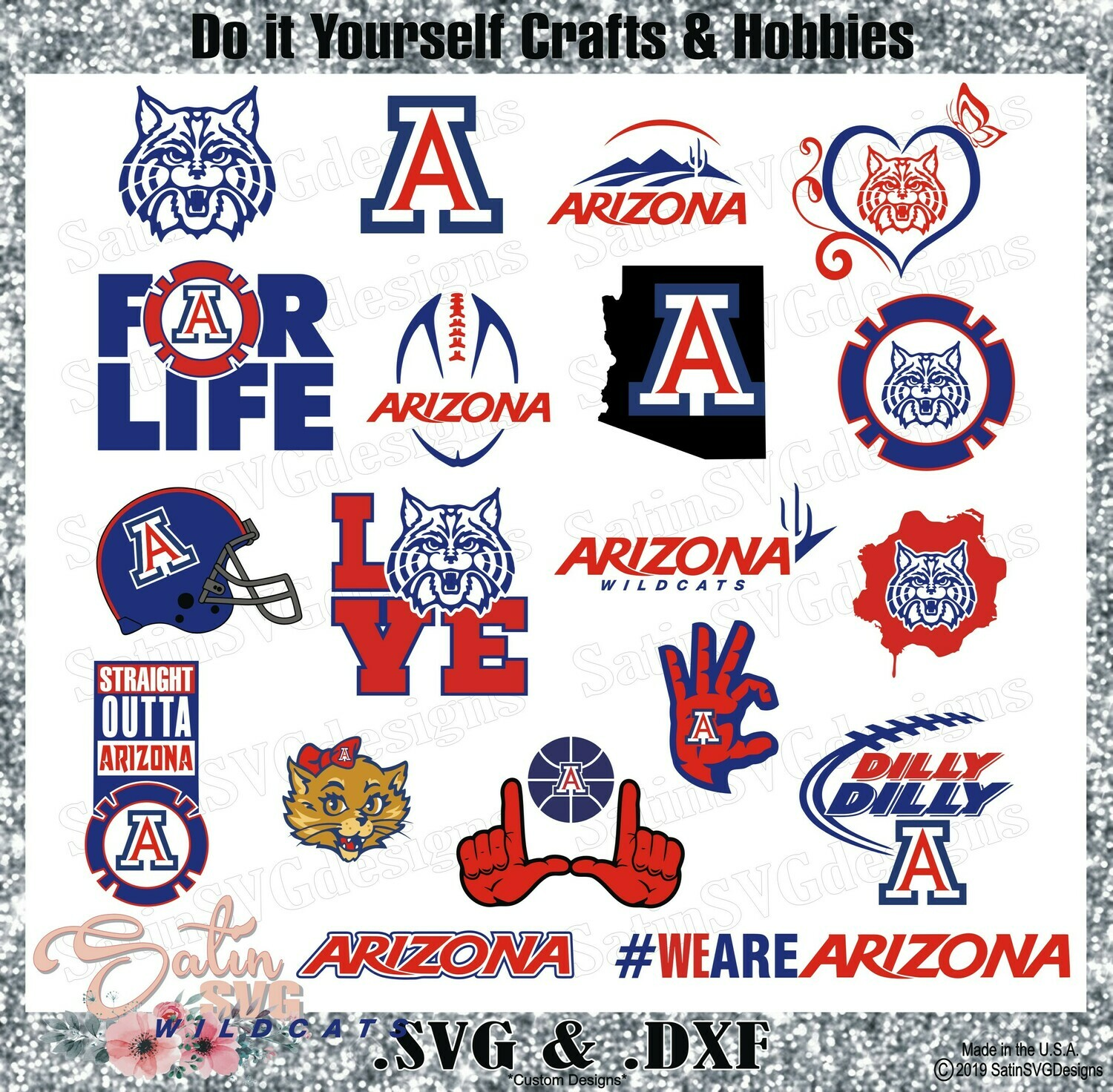 Arizona Wildcats SET Design SVG Files, Cricut, Silhouette Studio, Digital Cut Files