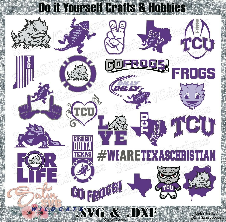 TCU Horned Frogs SET Design SVG Files, Cricut, Silhouette Studio, Digital Cut Files