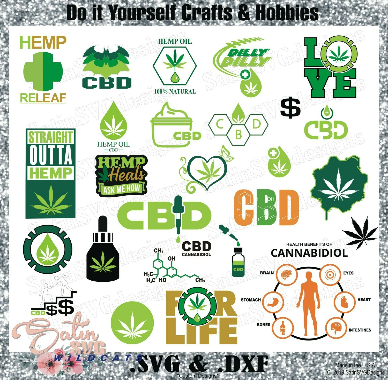 CBD Hemp Oils Business Icons NEW Design SVG Files, Cricut Maker Cutter, EasyPress, Cricut Infusible Ink, Silhouette Studio, Digital Cut Files