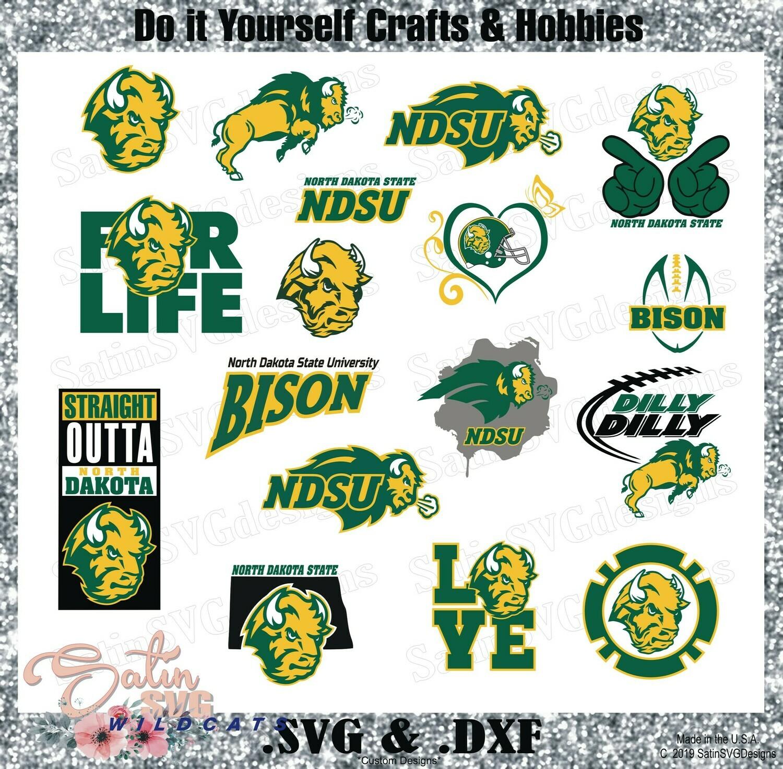 North Dakota State Bison Set Design SVG Files, Cricut, Silhouette Studio, Digital Cut Files