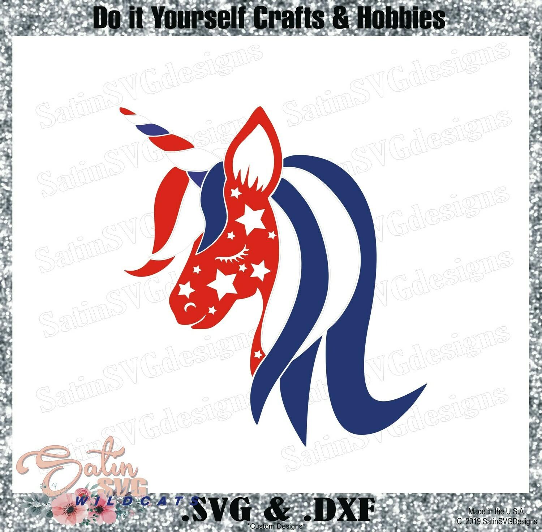 4th OF July - Unicorn Stars Design SVG Files, Cricut, Silhouette Studio, Digital Cut Files