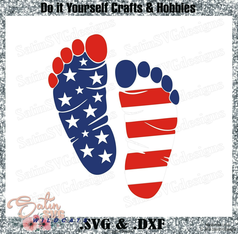 4th OF July - FLAG FEET Design SVG Files, Cricut, Silhouette Studio, Digital Cut Files