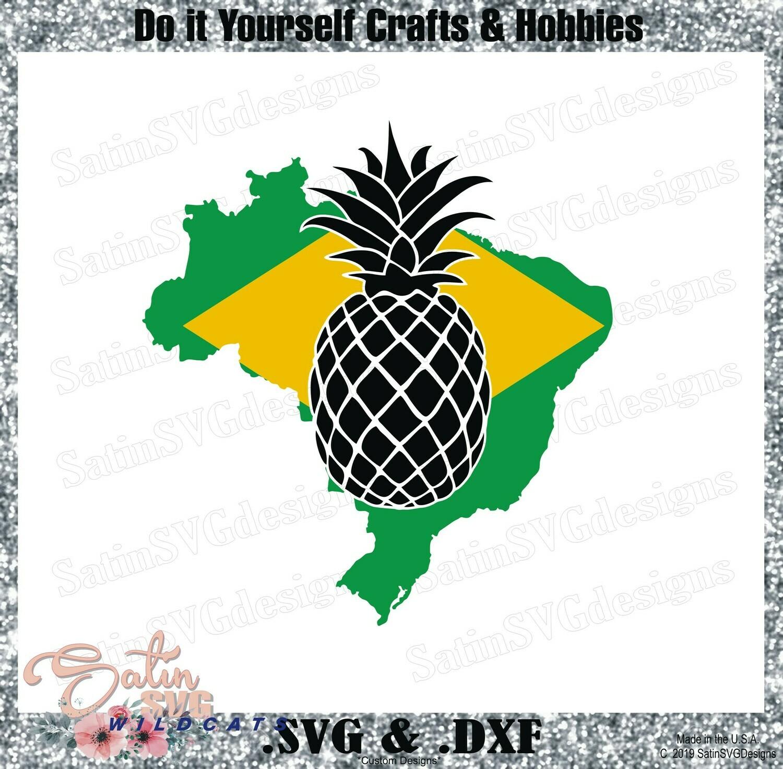 PINEAPPLE BRAZIL Design SVG Files, Cricut, Silhouette Studio, Digital Cut Files