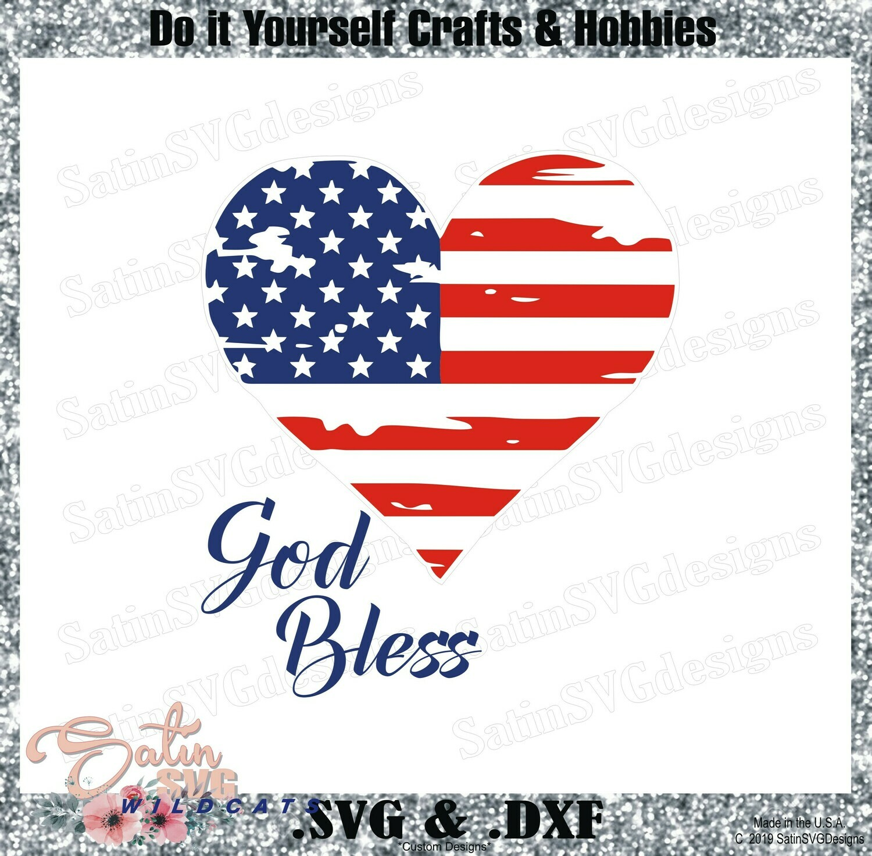 4th OF July - HEART GOD BLESS Design SVG Files, Cricut, Silhouette Studio, Digital Cut Files