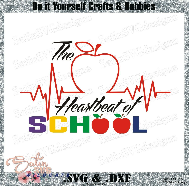 Heart Of School Design SVG Files, Cricut, Silhouette Studio, Digital Cut Files