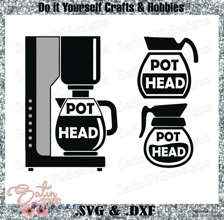 Coffee Pot Head Designs SVG Files, Cricut, Silhouette Studio, Digital Cut Files