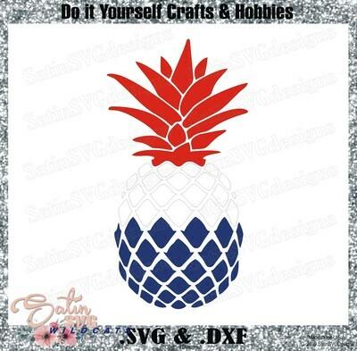 Pineapple Red White and Blue Designs SVG Files, Cricut, Silhouette Studio, Digital Cut Files