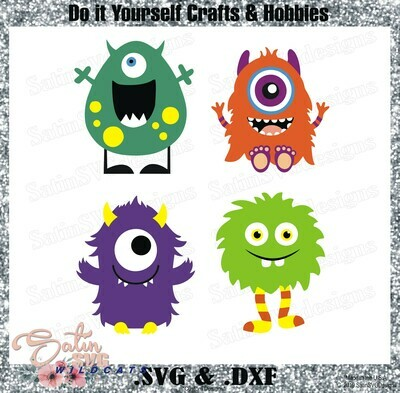 Lil Monsters Friends Set Designs SVG Files, Cricut, Silhouette Studio, Digital Cut Files