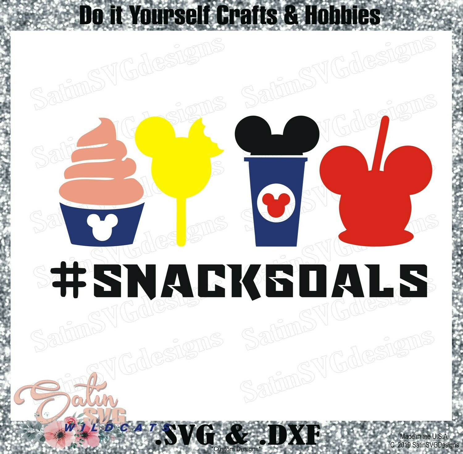 Mickey Snackgoals Set Designs SVG Files, Cricut, Silhouette Studio, Digital Cut Files