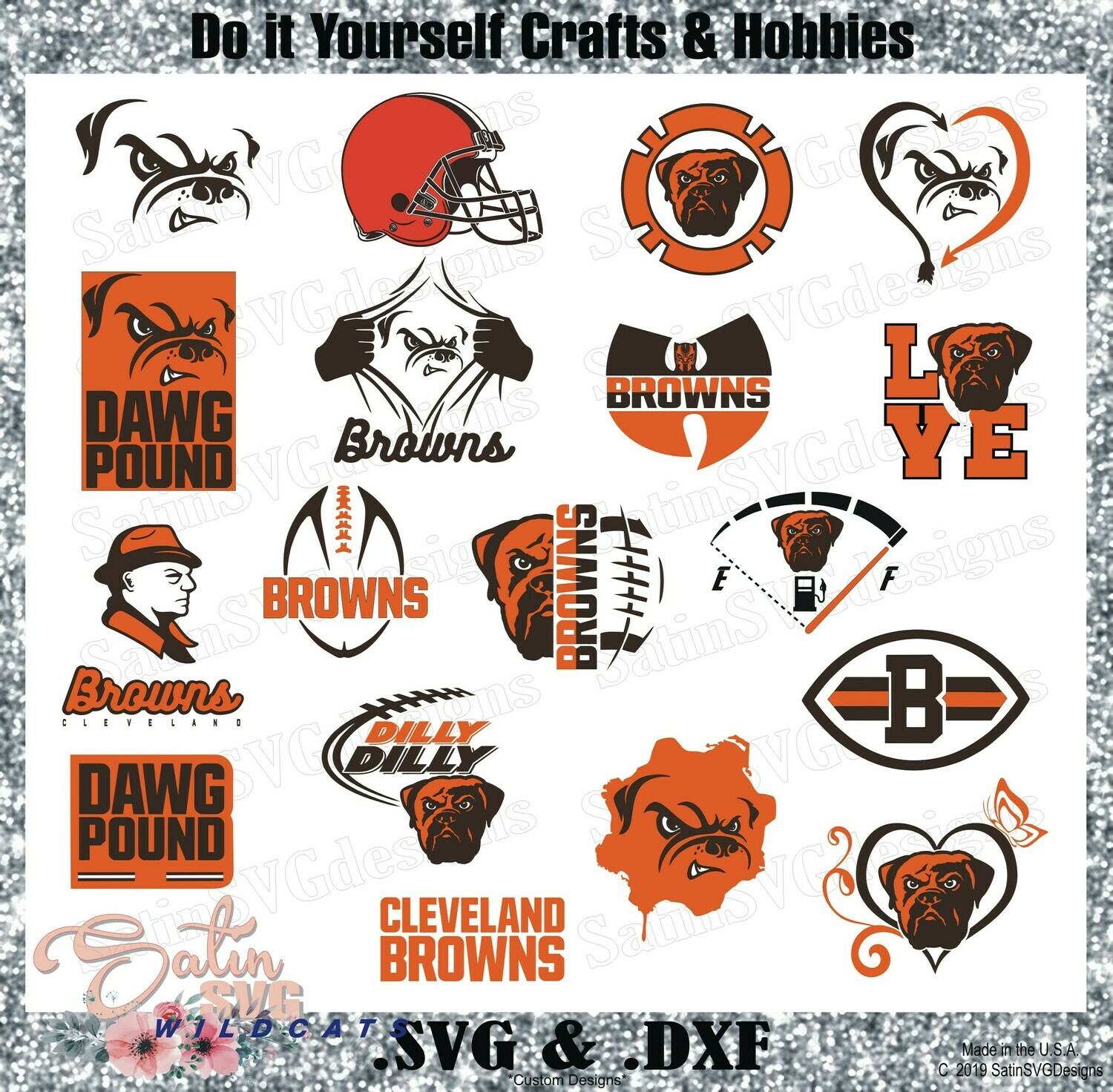 Cleveland Browns Dawg Pound Set2 Design SVG Files, Cricut, Silhouette Studio, Digital Cut Files