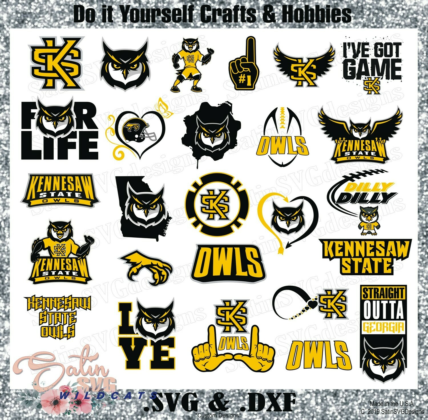 Kennesaw State Owls Set NEW Design SVG Files, Cricut, Silhouette Studio, Digital Cut Files