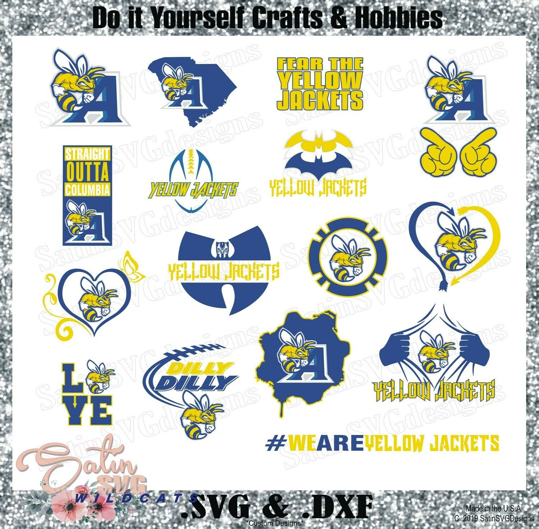 Allen University Yellow Jackets Custom HBCU Designs.  SVG Files, Cricut, Silhouette Studio, Digital Cut Files