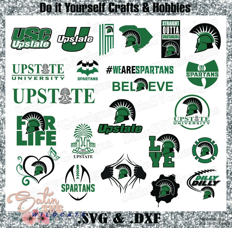 USC Upstate Spartans Football Custom University Designs. SVG Files, Cricut, Silhouette Studio, Digital Cut Files