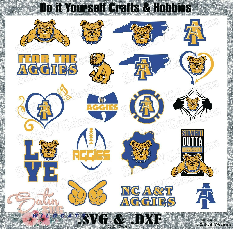 NC A&T Aggies Custom University Designs. SVG Files, Cricut, Silhouette Studio, Digital Cut Files, Infusible Ink