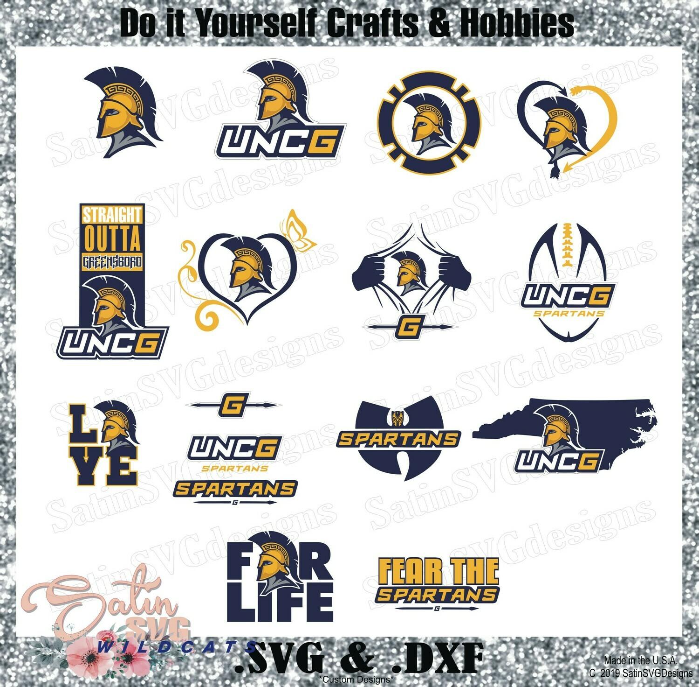 UNCG Spartans NEW Custom University Designs. SVG Files, Cricut, Silhouette Studio, Digital Cut Files, Infusible Ink