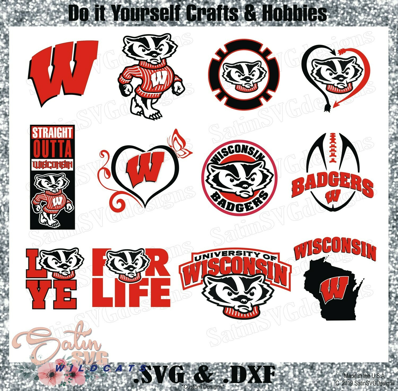 Wisconsin Badgers Custom University Designs. SVG Files, Cricut, Silhouette Studio, Digital Cut Files, Infusible Ink