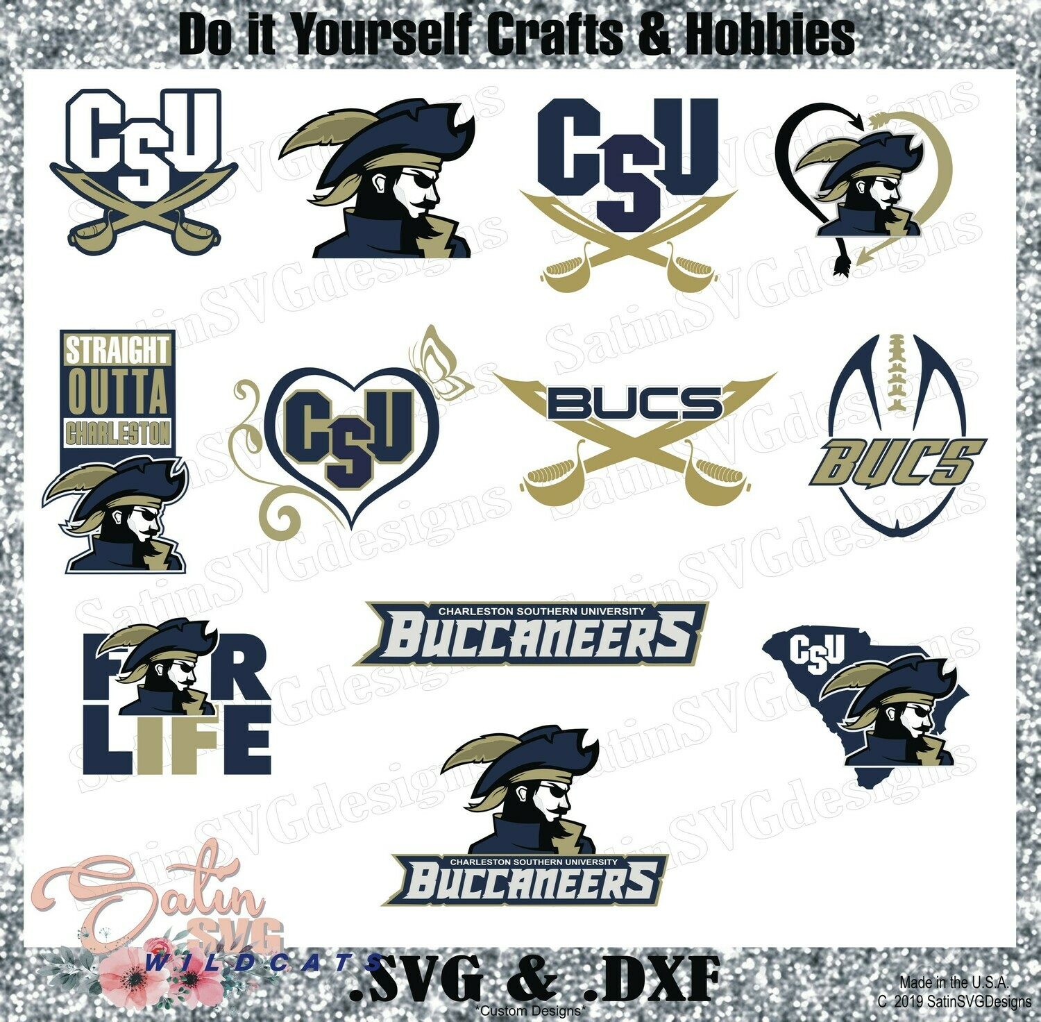 Charleston Southern Buccaneers NEW Custom University Designs. SVG Files, Cricut, Silhouette Studio, Digital Cut Files, Infusible Ink