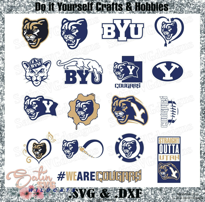 BYU Cougars NEW Custom University Designs. SVG Files, Cricut, Silhouette Studio, Digital Cut Files, Infusible Ink