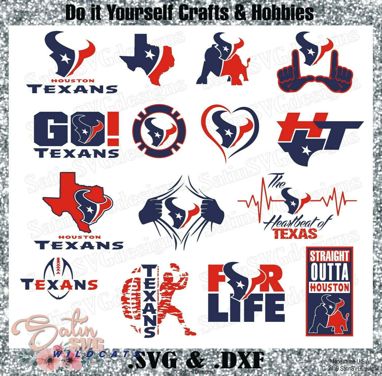 Houston Texans Design Upgrade Set SVG Files, NFL Football - Cricut, Silhouette Studio, Digital Cut Files