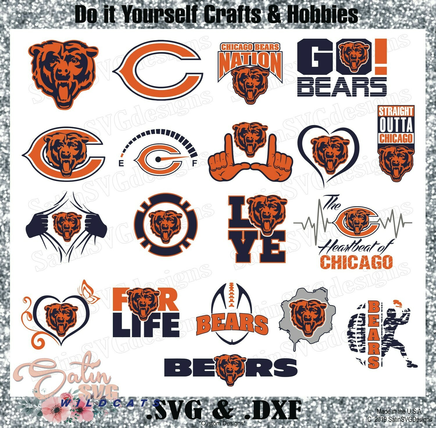 Chicago Bears Set Design SVG Files, Cricut, Silhouette Studio, Digital Cut Files
