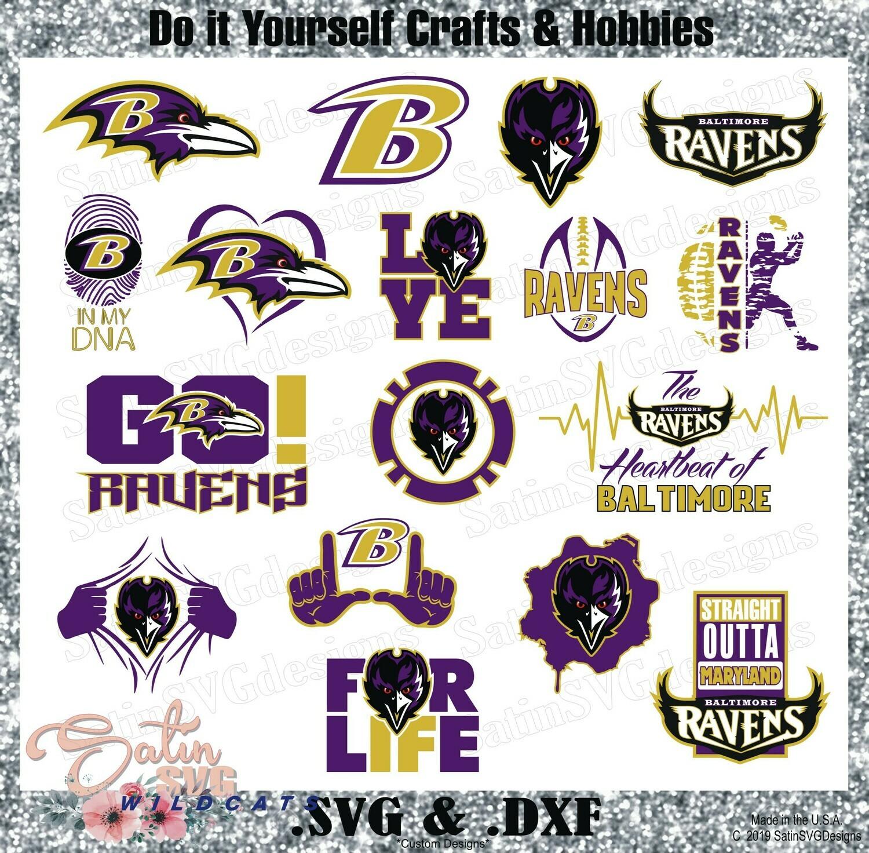 Baltimore Ravens Set Design Upgrade SVG Files, Cricut, Silhouette Studio, Digital Cut Files