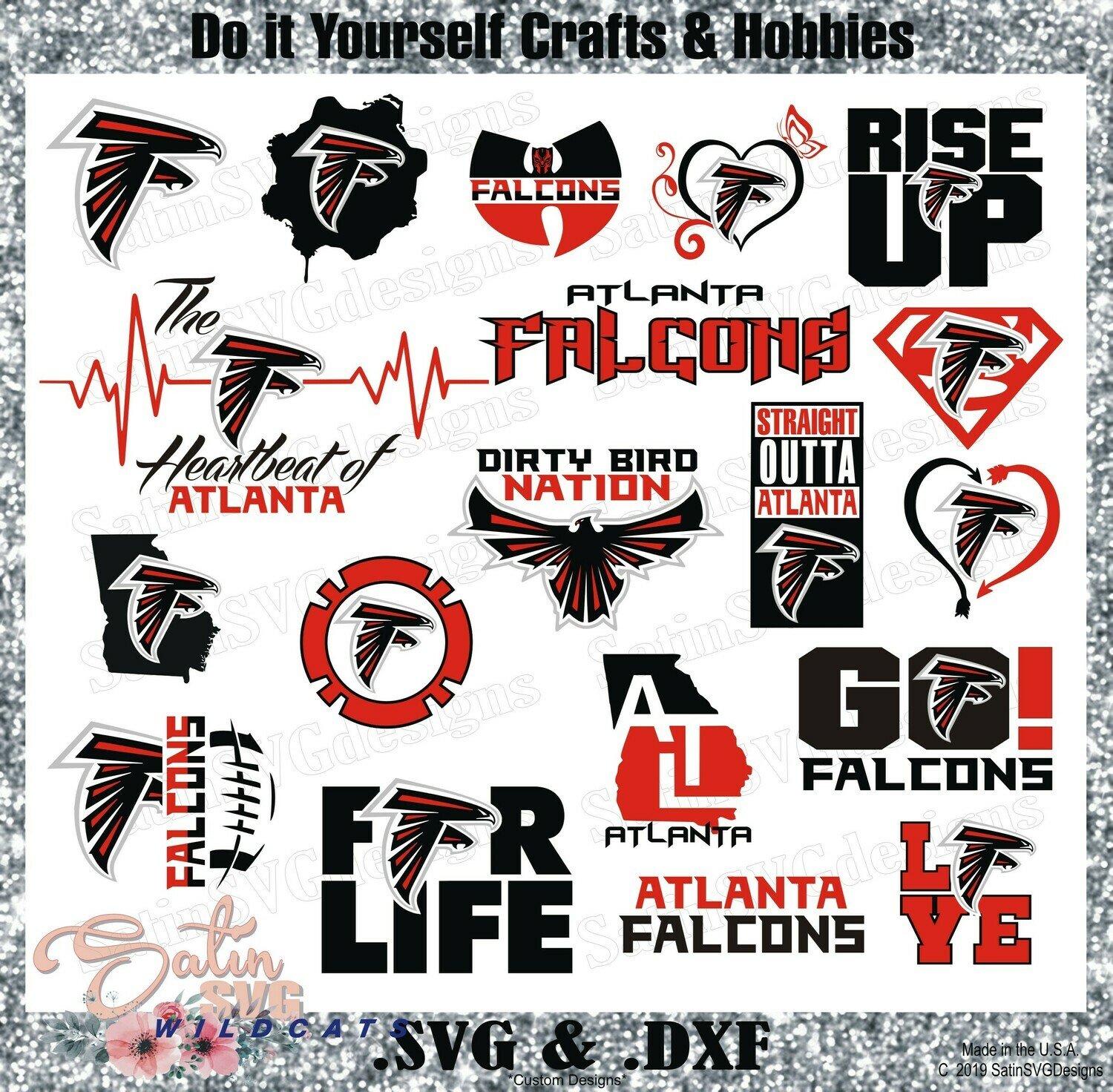 Atlanta Falcons MEGA-Bundle (All 3 Sets) NEW Custom Design SVG Files, Cricut, Silhouette Studio, Digital Cut Files