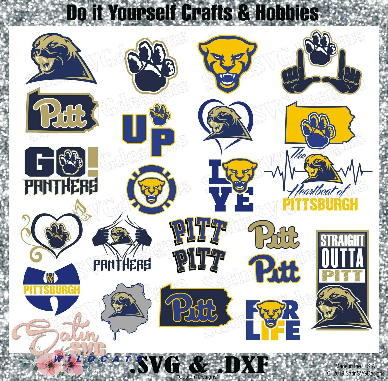 Pittsburgh Panthers NEW Custom University Designs. SVG Files, Cricut, Silhouette Studio, Digital Cut Files, Infusible Ink