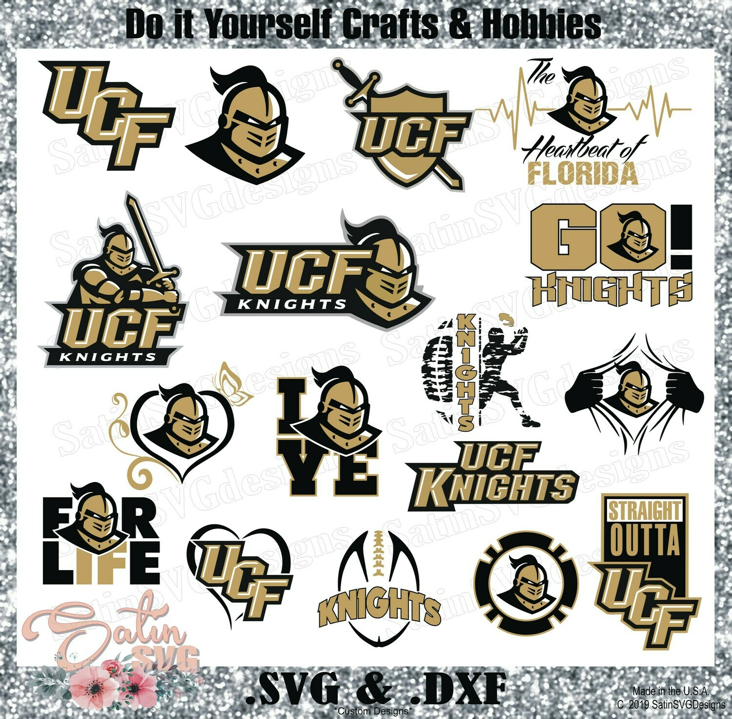 UCF Knights NEW Custom Central Florida University Designs. SVG Files, Cricut, Silhouette Studio, Digital Cut Files, Infusible Ink
