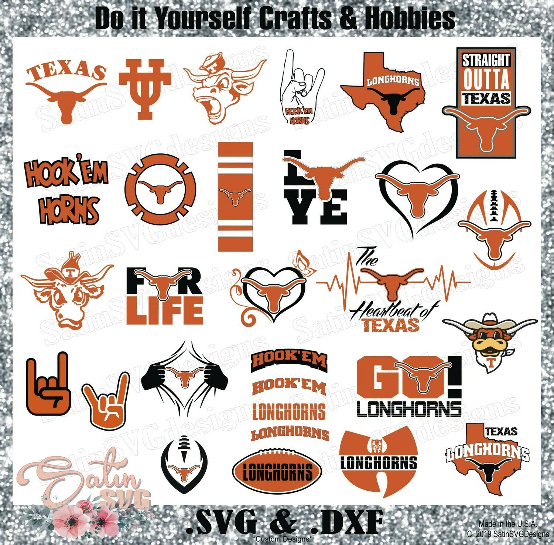 Texas Longhorns NEW Custom Central Florida University Designs. SVG Files, Cricut, Silhouette Studio, Digital Cut Files, Infusible Ink