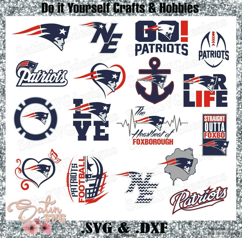 New England Patriots Set NFL Design SVG Files, Cricut, Silhouette Studio, Digital Cut Files