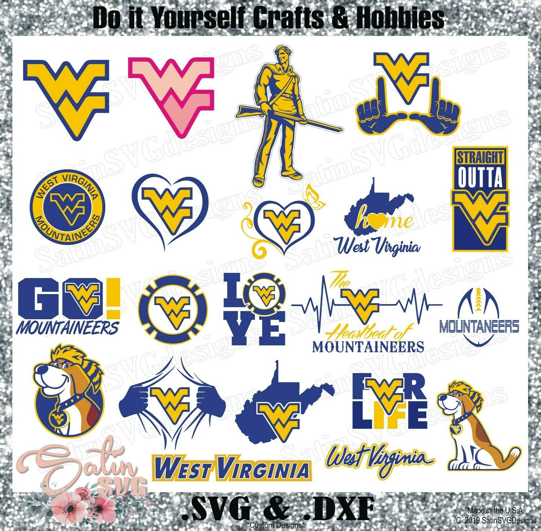 West Virginia Mountaineers Set Design SVG Files, Cricut, Silhouette Studio, Digital Cut Files