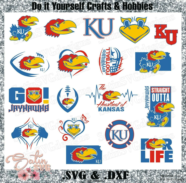 Kansas Jayhawks Update Set College Design SVG Files, Cricut, Silhouette Studio, Digital Cut Files