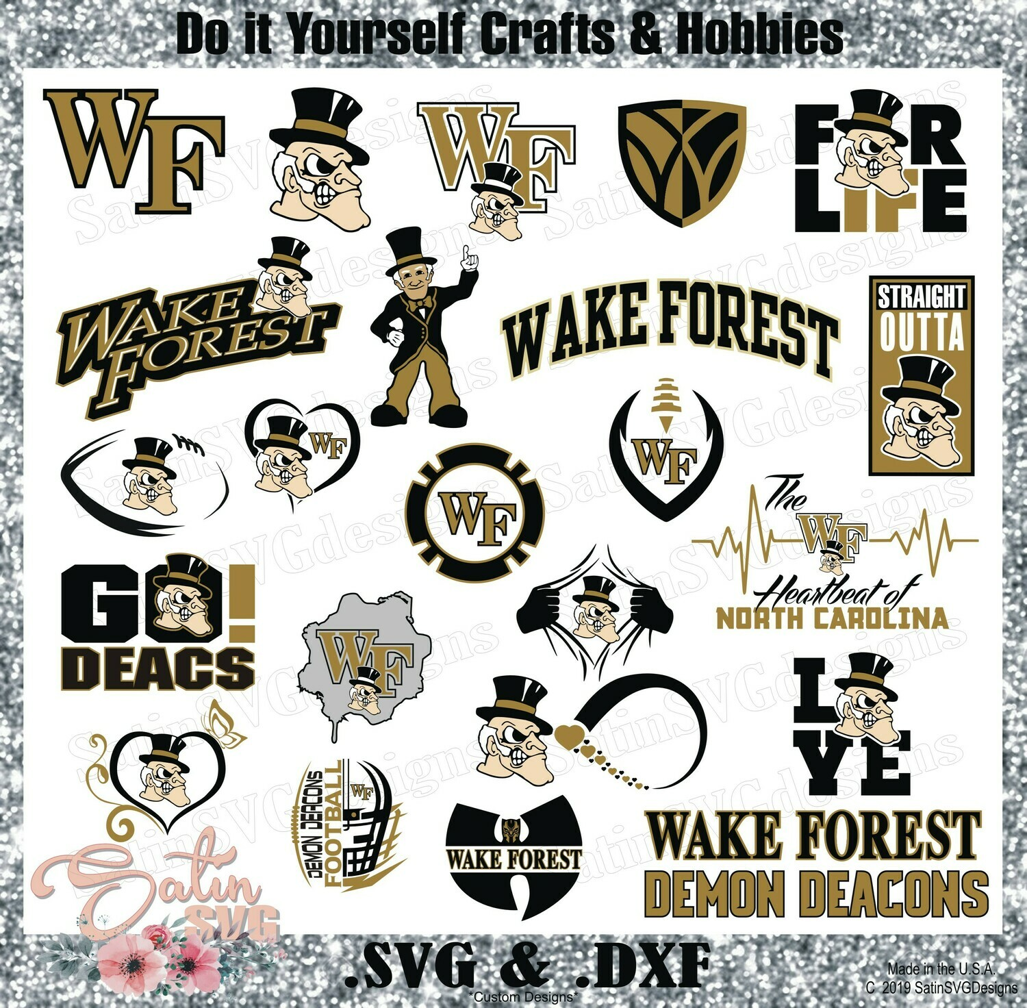 Wake Forest Demon Deacons NEW Custom Central Florida University Designs. SVG Files, Cricut, Silhouette Studio, Digital Cut Files, Infusible Ink