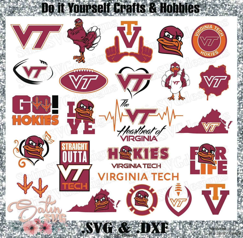 Virginia Tech Hokies NEW Custom University Designs. SVG Files, Cricut, Silhouette Studio, Digital Cut Files, Infusible Ink