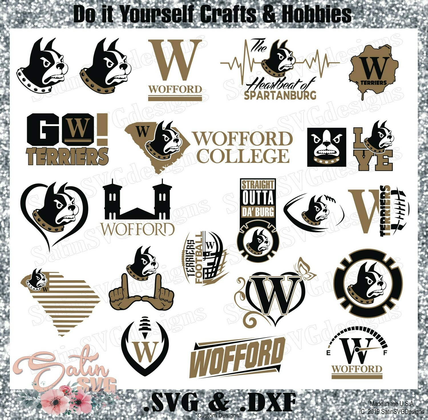 Wofford Terriers NEW Custom University Designs. SVG Files, Cricut, Silhouette Studio, Digital Cut Files, Infusible Ink